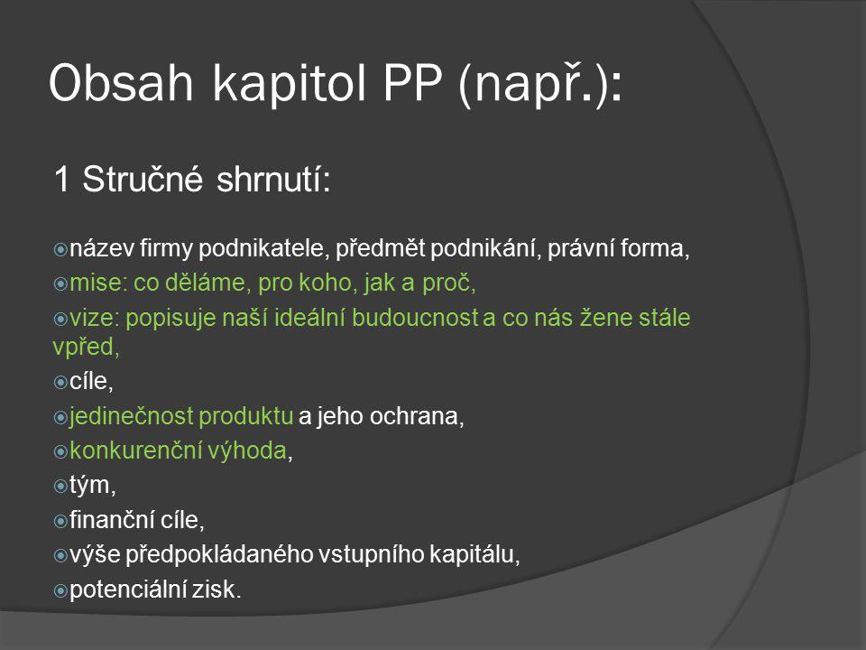 Obsah kapitol PP (např.):