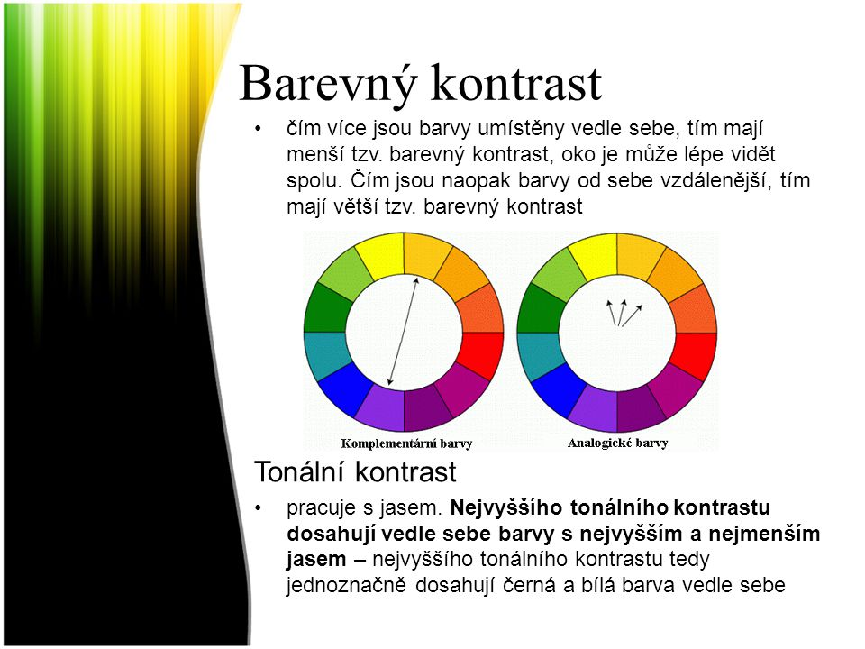 Barevný kontrast Tonální kontrast