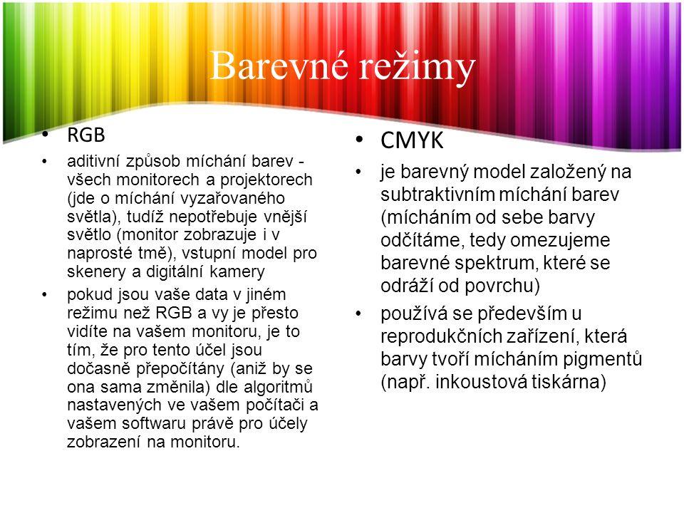 Barevné režimy CMYK RGB