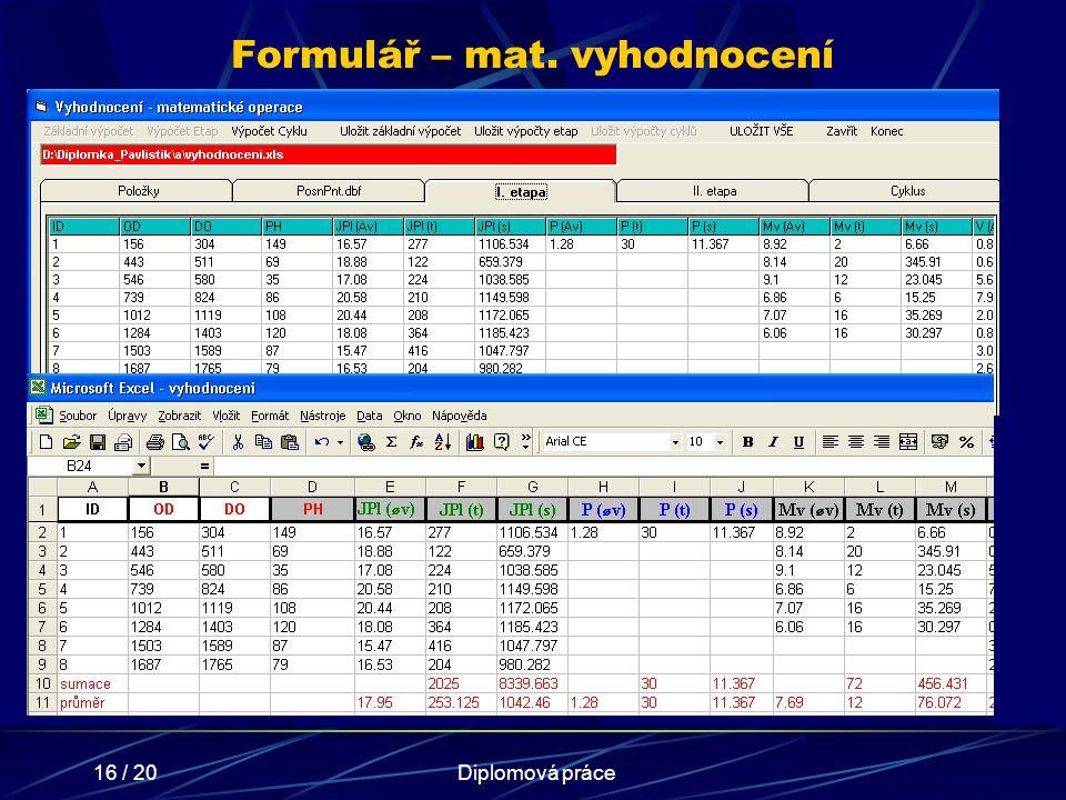 Formulář – mat. vyhodnocení