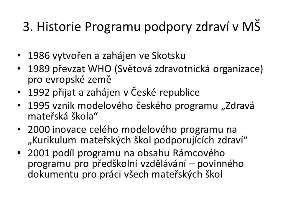 3. Historie Programu podpory zdraví v MŠ