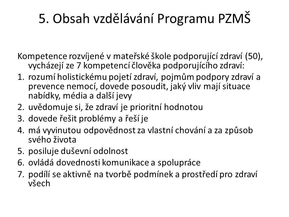 5. Obsah vzdělávání Programu PZMŠ