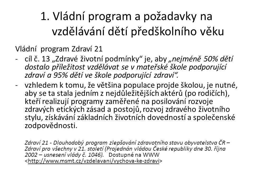 1. Vládní program a požadavky na vzdělávání dětí předškolního věku