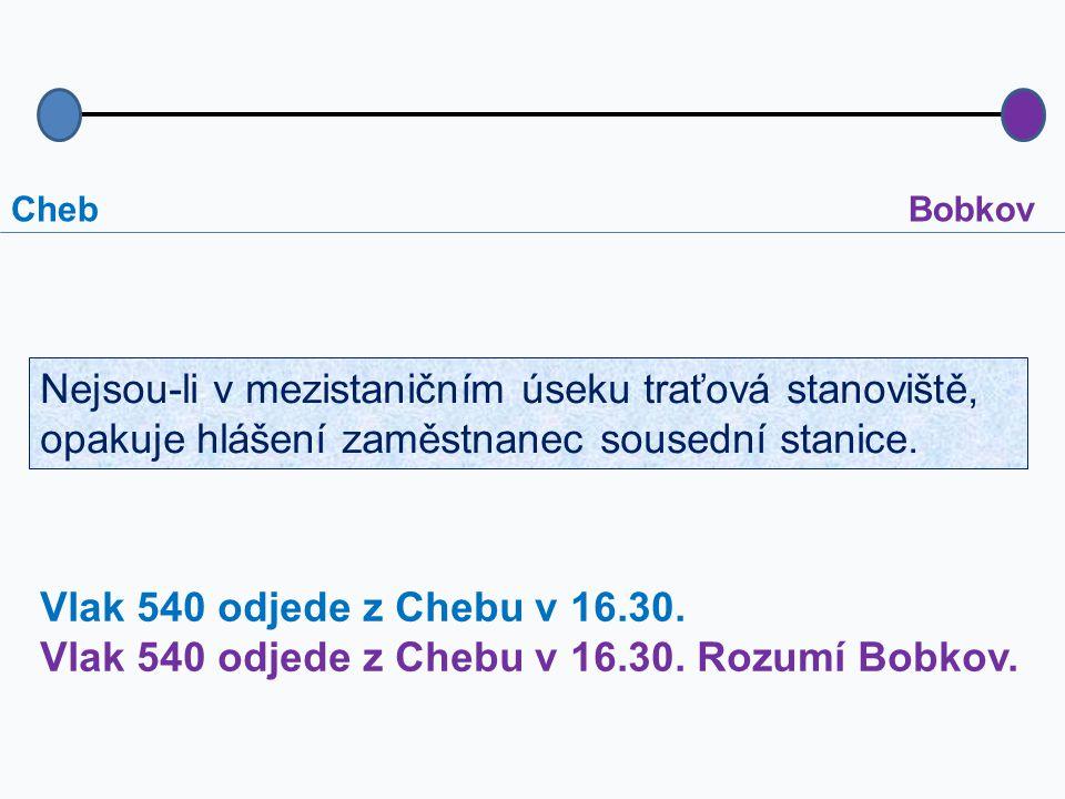 Vlak 540 odjede z Chebu v 16.30. Rozumí Bobkov.