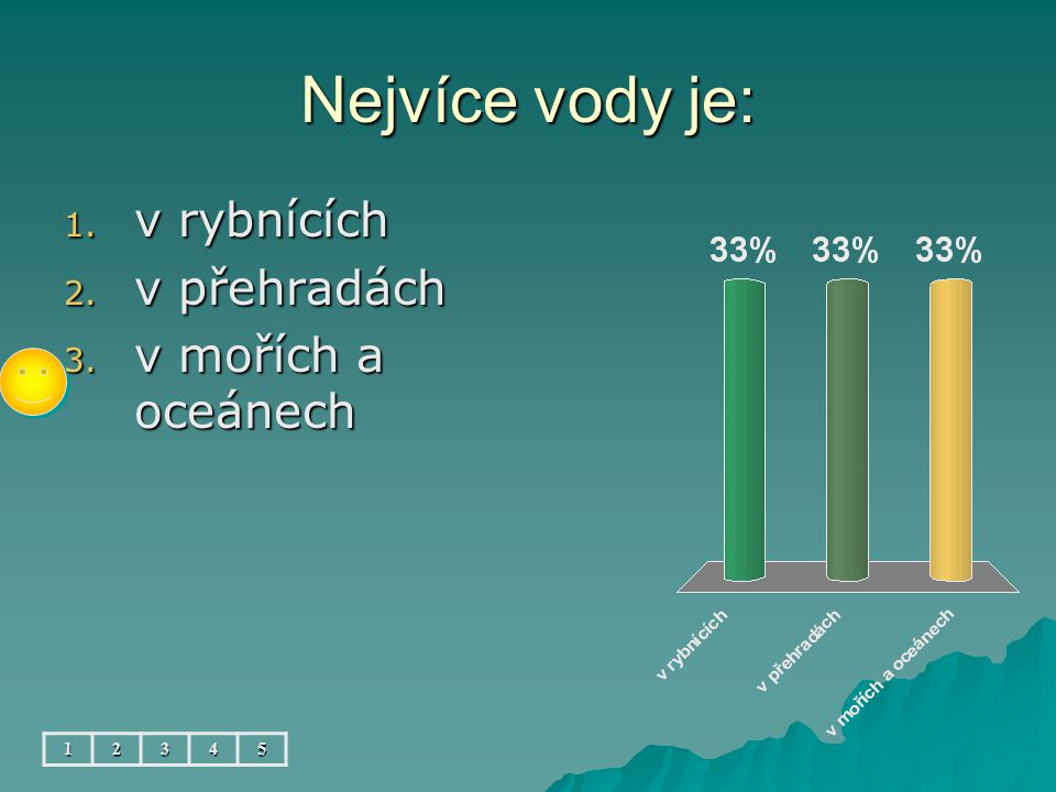 Nejvíce vody je: v rybnících v přehradách v mořích a oceánech 1 2 3 4