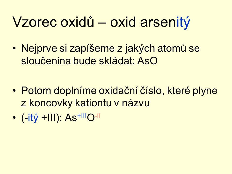 Vzorec oxidů – oxid arsenitý