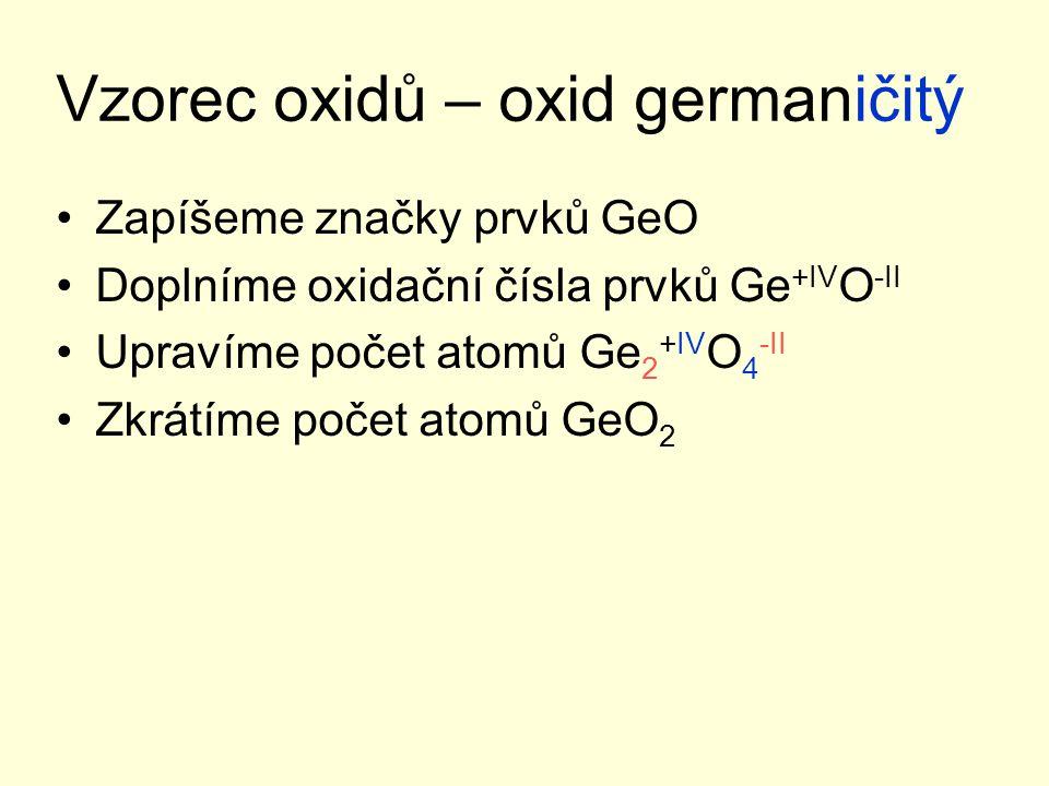 Vzorec oxidů – oxid germaničitý