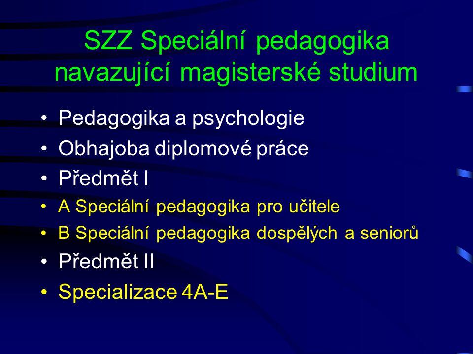 SZZ Speciální pedagogika navazující magisterské studium