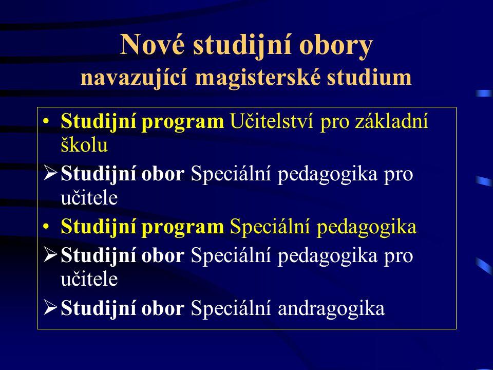 Nové studijní obory navazující magisterské studium