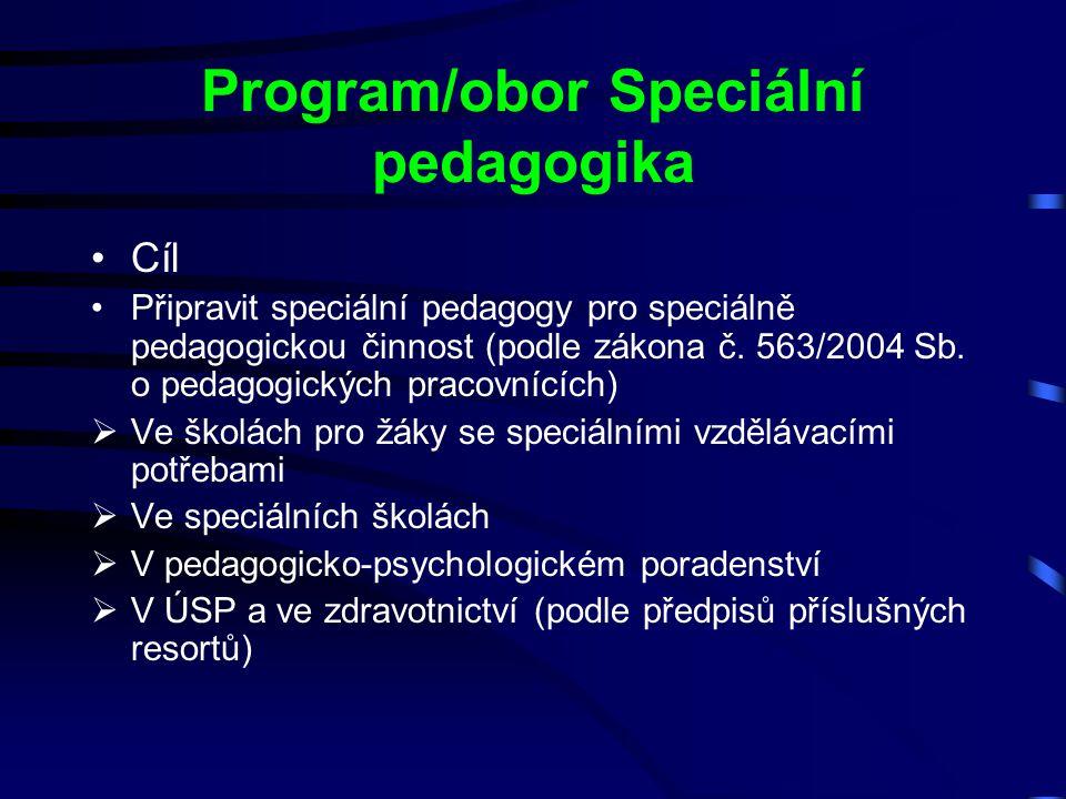 Program/obor Speciální pedagogika