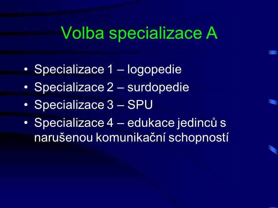 Volba specializace A Specializace 1 – logopedie