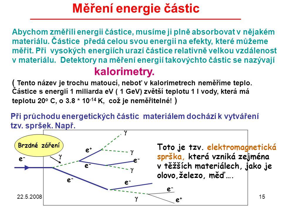 Měření energie částic Abychom změřili energii částice, musíme ji plně absorbovat v nějakém.