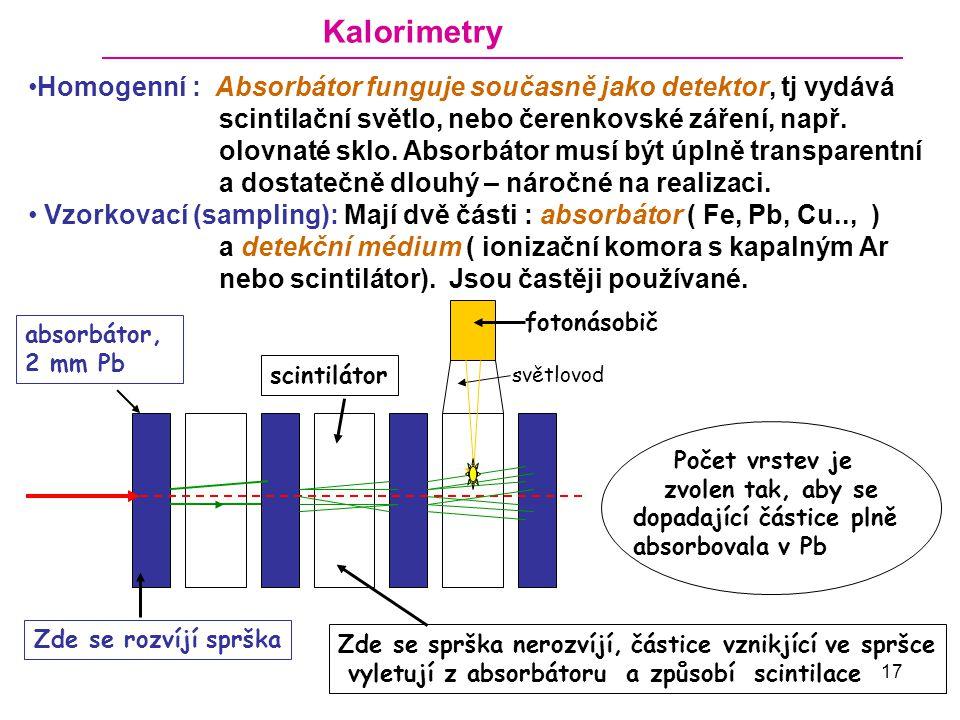 Kalorimetry Homogenní : Absorbátor funguje současně jako detektor, tj vydává. scintilační světlo, nebo čerenkovské záření, např.