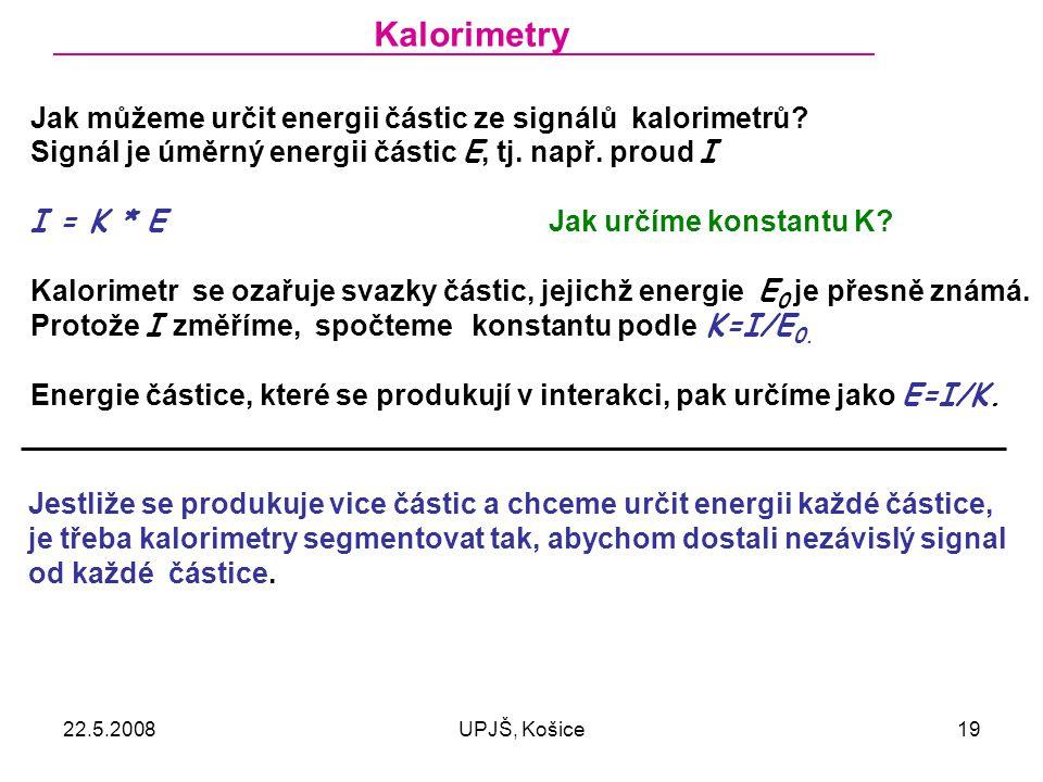Kalorimetry Jak můžeme určit energii částic ze signálů kalorimetrů