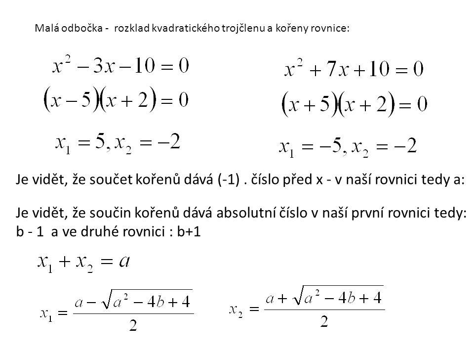 Malá odbočka - rozklad kvadratického trojčlenu a kořeny rovnice: