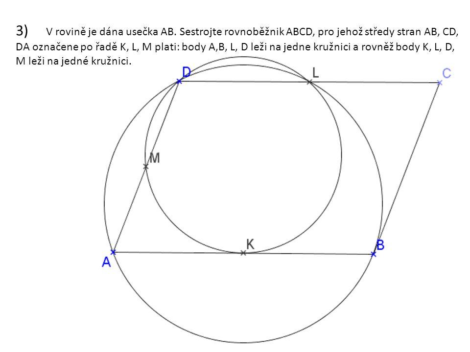 3) V rovině je dána usečka AB