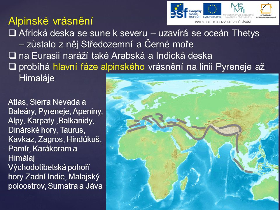 Alpinské vrásnění Africká deska se sune k severu – uzavírá se oceán Thetys – zůstalo z něj Středozemní a Černé moře.
