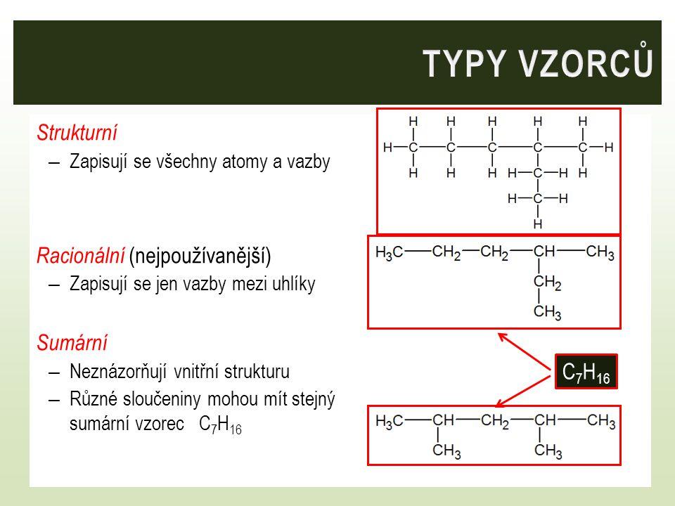 TYPY VZORCŮ Strukturní Racionální (nejpoužívanější) Sumární C7H16