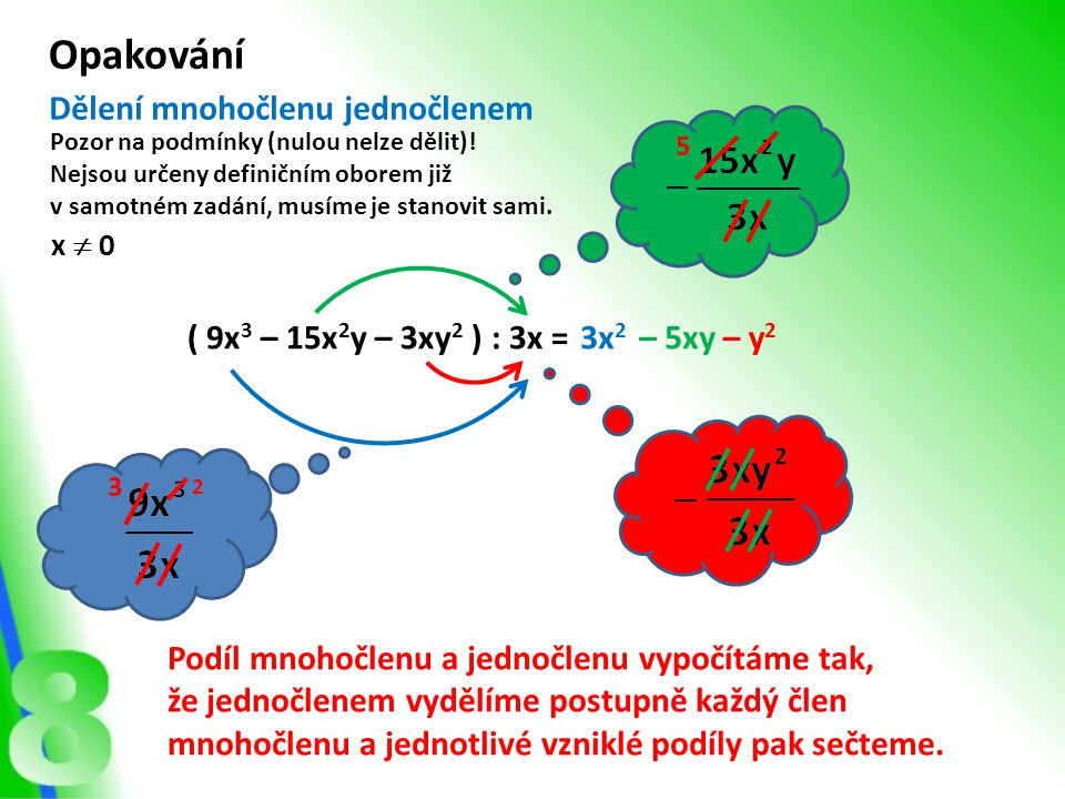 Opakování Dělení mnohočlenu jednočlenem ( 9x3 – 15x2y – 3xy2 ) : 3x =