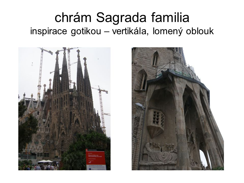 chrám Sagrada familia inspirace gotikou – vertikála, lomený oblouk