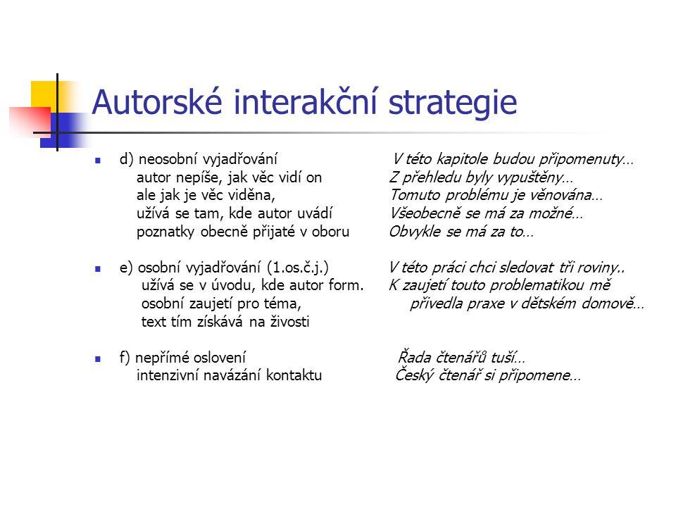Autorské interakční strategie