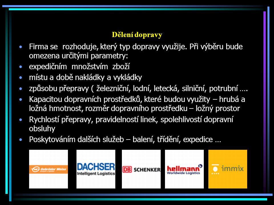 Dělení dopravy Firma se rozhoduje, který typ dopravy využije. Při výběru bude omezena určitými parametry: