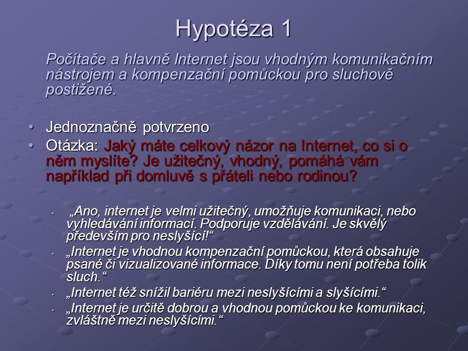Hypotéza 1 Počítače a hlavně Internet jsou vhodným komunikačním nástrojem a kompenzační pomůckou pro sluchově postižené.
