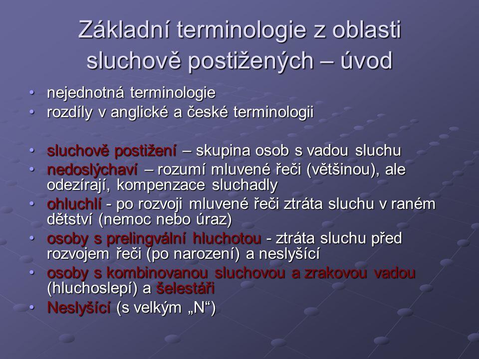 Základní terminologie z oblasti sluchově postižených – úvod