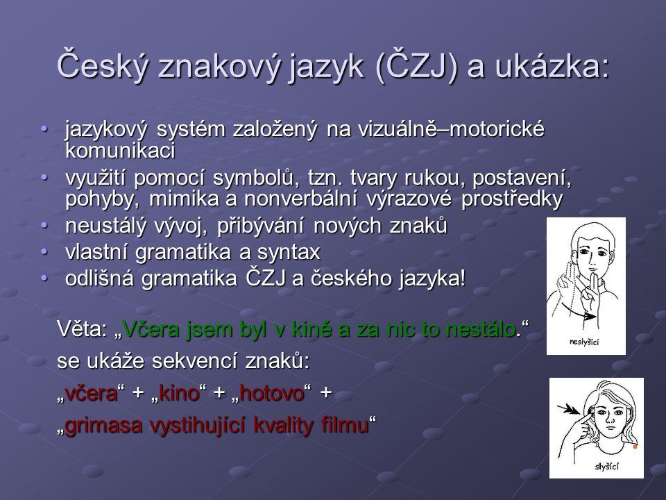Český znakový jazyk (ČZJ) a ukázka: