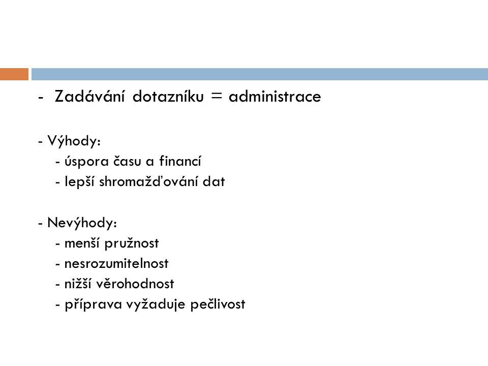 - Zadávání dotazníku = administrace