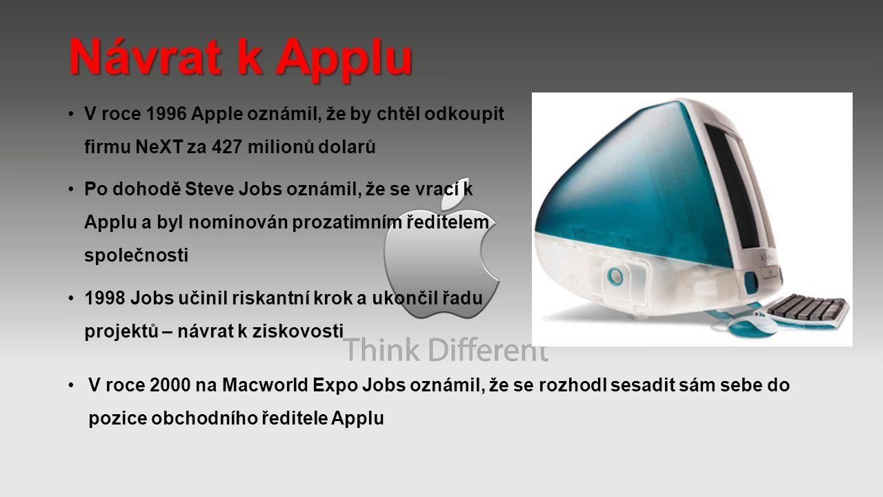 Návrat k Applu V roce 1996 Apple oznámil, že by chtěl odkoupit firmu NeXT za 427 milionů dolarů.