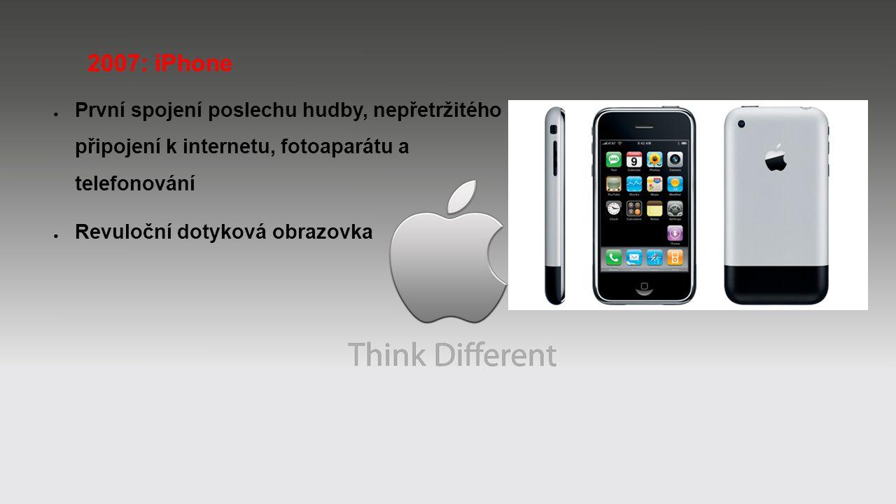 2007: iPhone První spojení poslechu hudby, nepřetržitého připojení k internetu, fotoaparátu a telefonování.