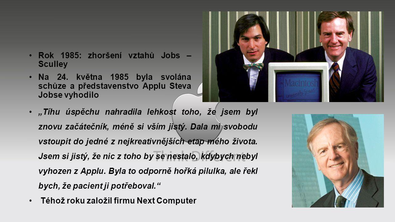 Rok 1985: zhoršení vztahů Jobs – Sculley