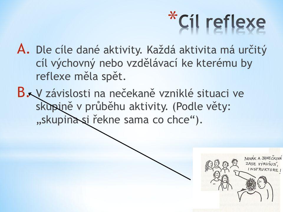 Cíl reflexe Dle cíle dané aktivity. Každá aktivita má určitý cíl výchovný nebo vzdělávací ke kterému by reflexe měla spět.