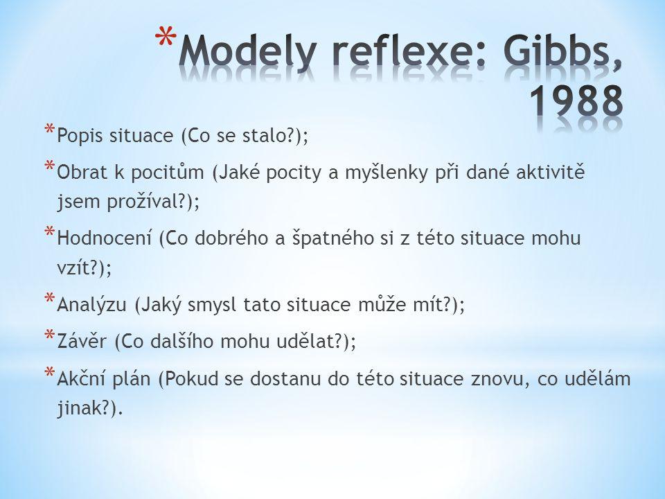 Modely reflexe: Gibbs, 1988 Popis situace (Co se stalo );