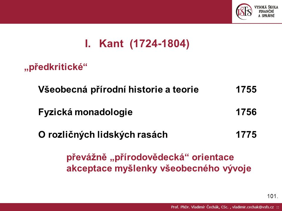 """Kant (1724-1804) """"předkritické"""