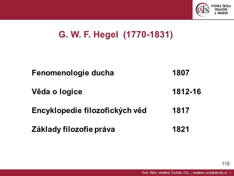 G. W. F. Hegel (1770-1831) Fenomenologie ducha 1807