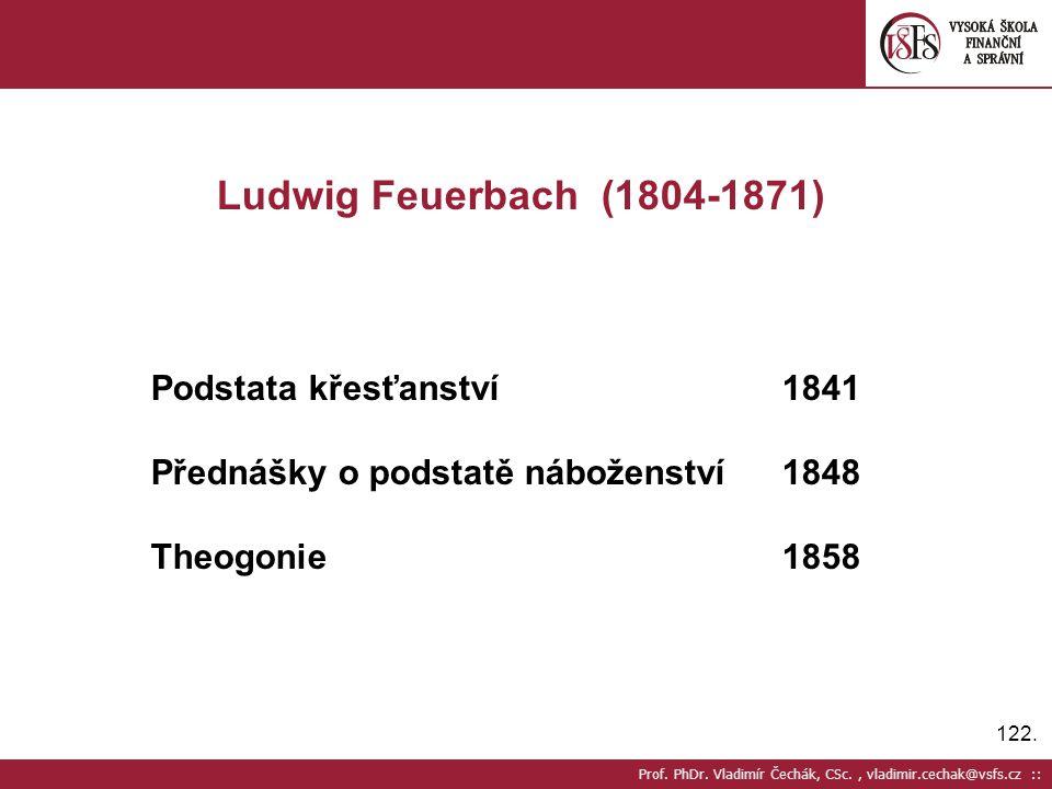 Ludwig Feuerbach (1804-1871) Podstata křesťanství 1841