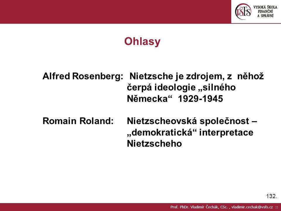 Ohlasy Alfred Rosenberg: Nietzsche je zdrojem, z něhož