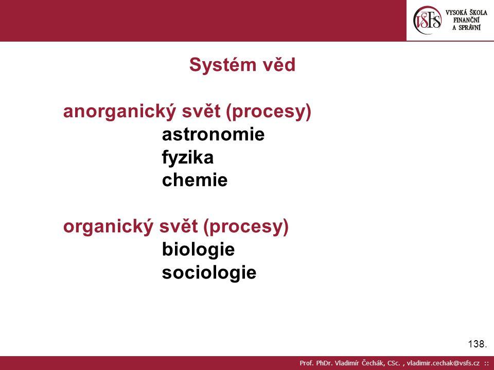 anorganický svět (procesy) astronomie fyzika chemie