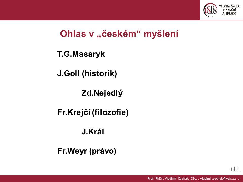 """Ohlas v """"českém myšlení"""