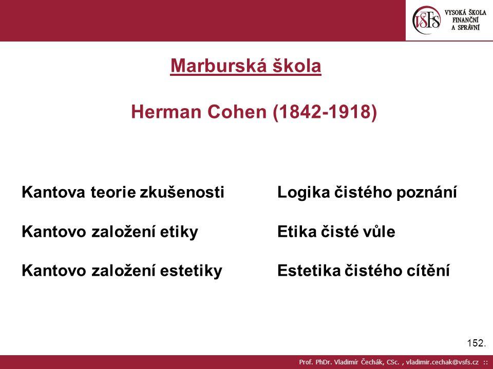 Marburská škola Herman Cohen (1842-1918)