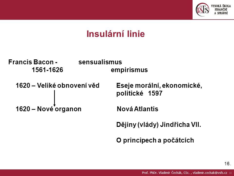 Insulární linie Francis Bacon - sensualismus 1561-1626 empirismus