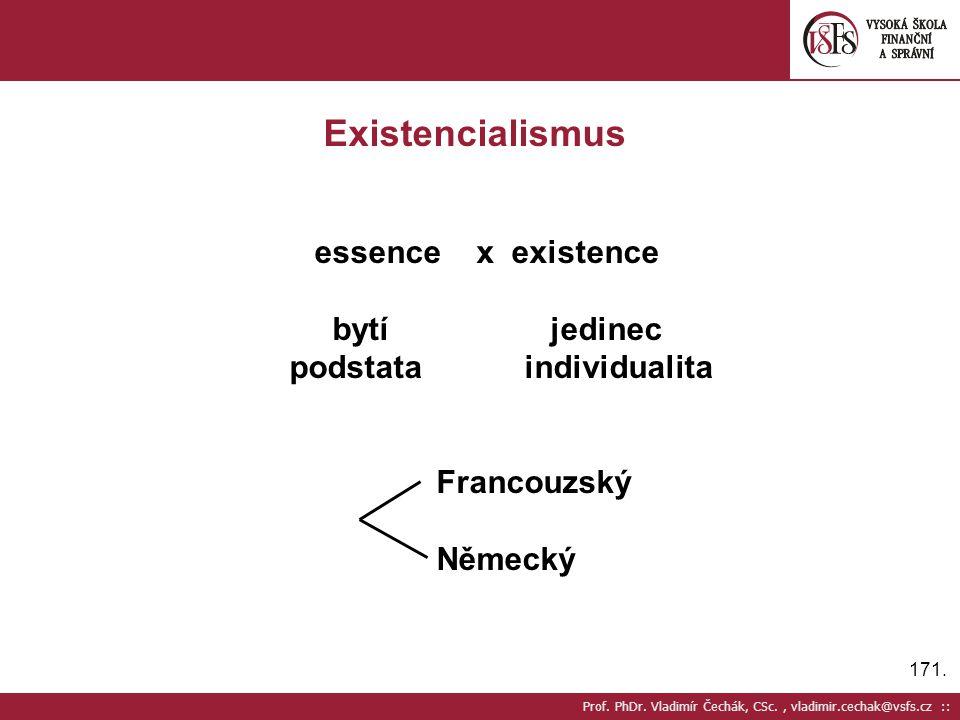 Existencialismus essence x existence bytí jedinec