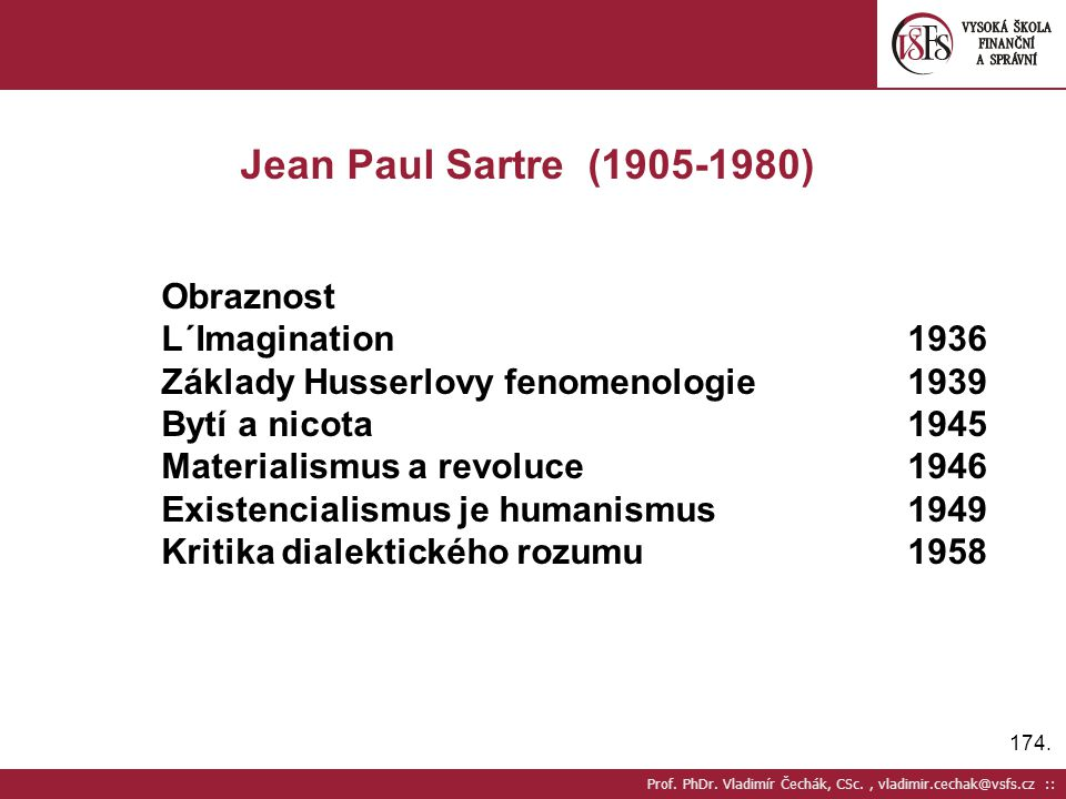 Jean Paul Sartre (1905-1980) Obraznost L´Imagination 1936