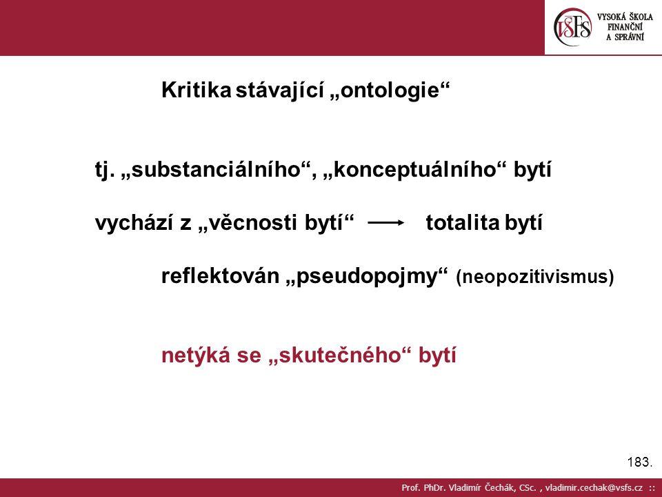 """Kritika stávající """"ontologie"""