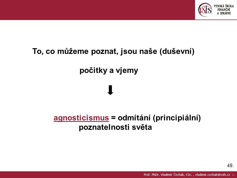 agnosticismus = odmítání (principiální) poznatelnosti světa