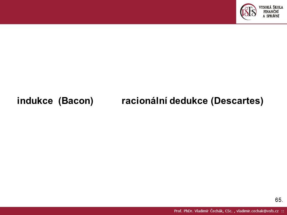 indukce (Bacon) racionální dedukce (Descartes)