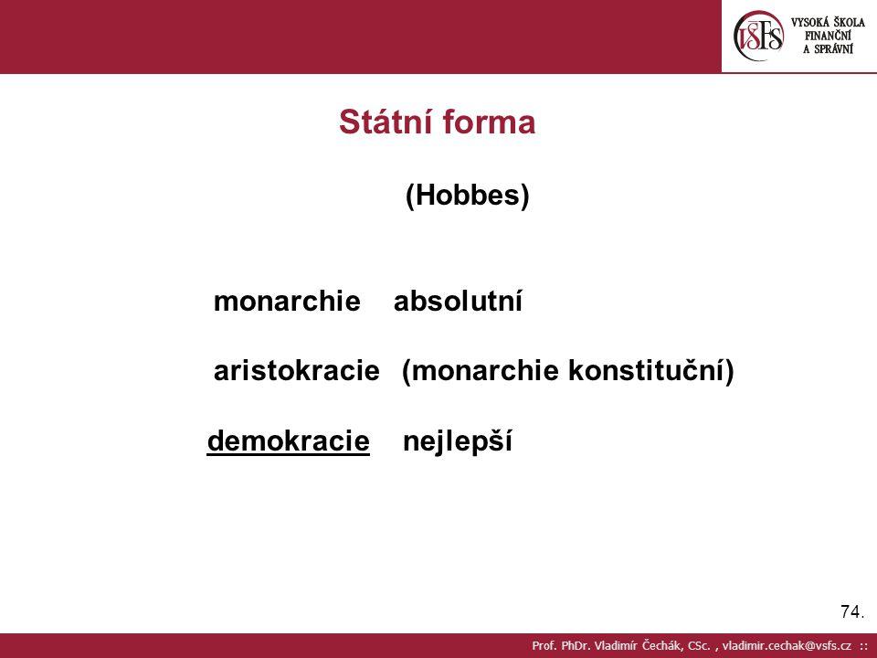 Státní forma (Hobbes) monarchie absolutní