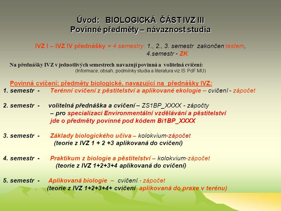Úvod: BIOLOGICKÁ ČÁST IVZ III Povinné předměty – návaznost studia